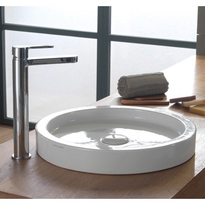 Bathroom Sink, Scarabeo 8811, 14 Inch White Ceramic Vessel Sink