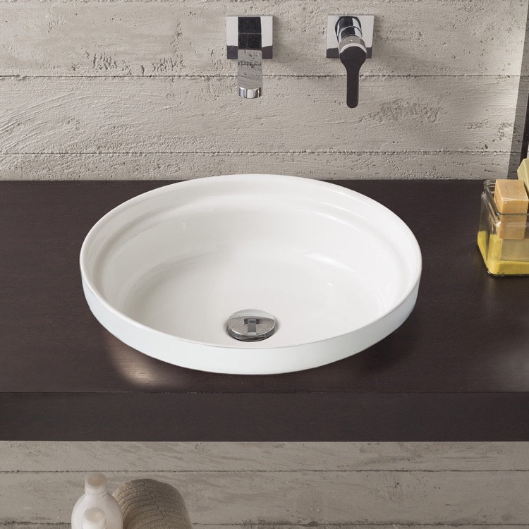 Bathroom Sink, Scarabeo 9006, Round White Ceramic Drop In Sink