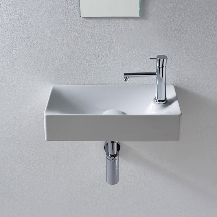 Bathroom Sink Scarabeo 1501 Small Ceramic Wall Mounted Or Vessel