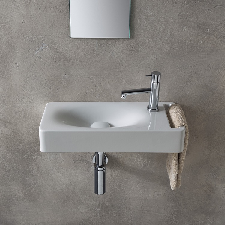 Bathroom Sink Scarabeo 1511 Rectangular White Ceramic Wall Mounted With Towel Holder