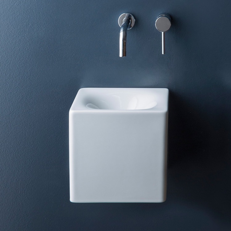 Bathroom Sink, Scarabeo 1521, Square White Ceramic Wall Mounted or Vessel Sink