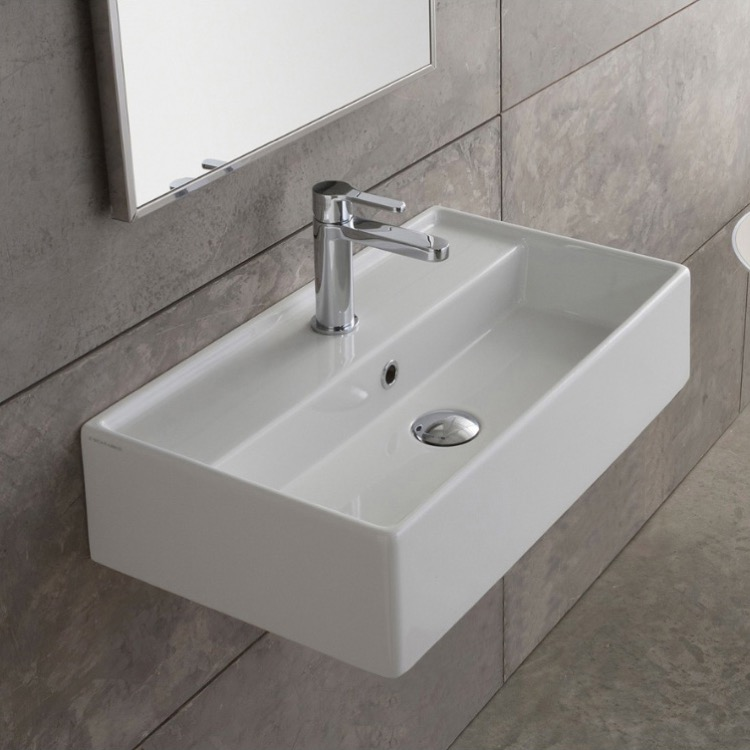 Bathroom Sink, Scarabeo 5002, Rectangular White Ceramic Wall Mounted or Vessel Sink