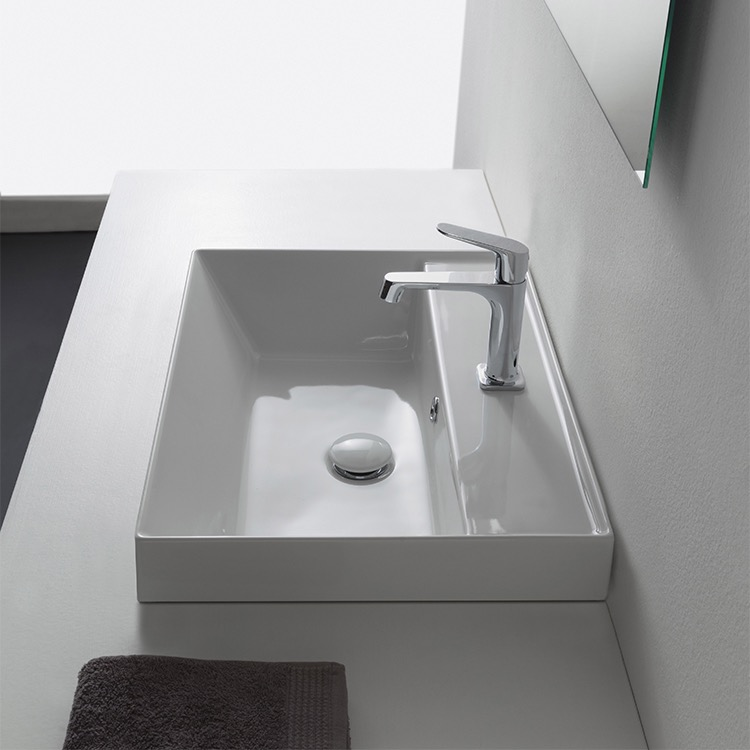 Bathroom Sink, Scarabeo 5108, Square White Ceramic Drop In Sink