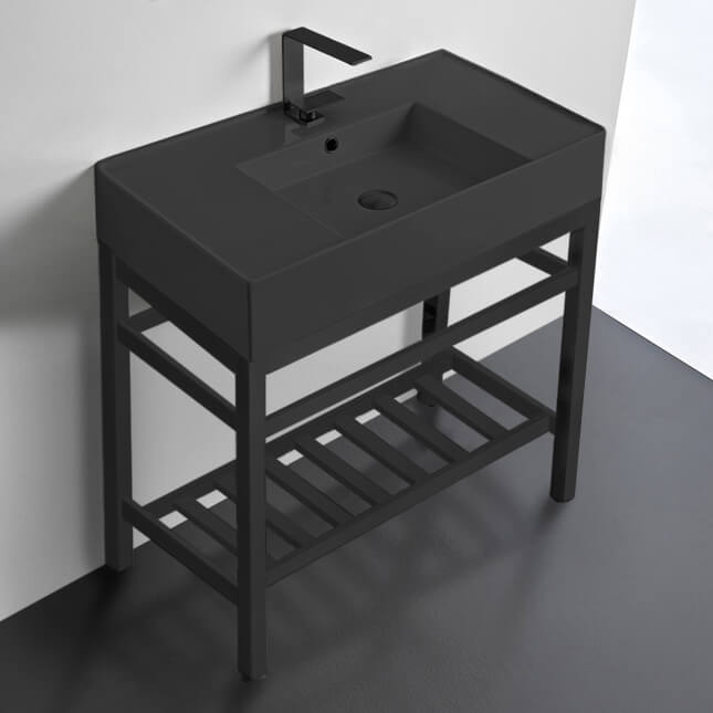 Bathroom Sink, Scarabeo 5123-49-CON2-BLK, Modern Matte Black Ceramic Console Sink and Matte Black Base