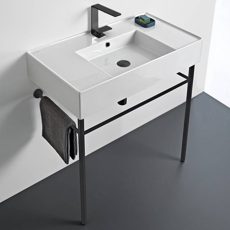 Bathroom Sink, Scarabeo 5123-CON-BLK, Ceramic Console Sink and Matte Black Stand