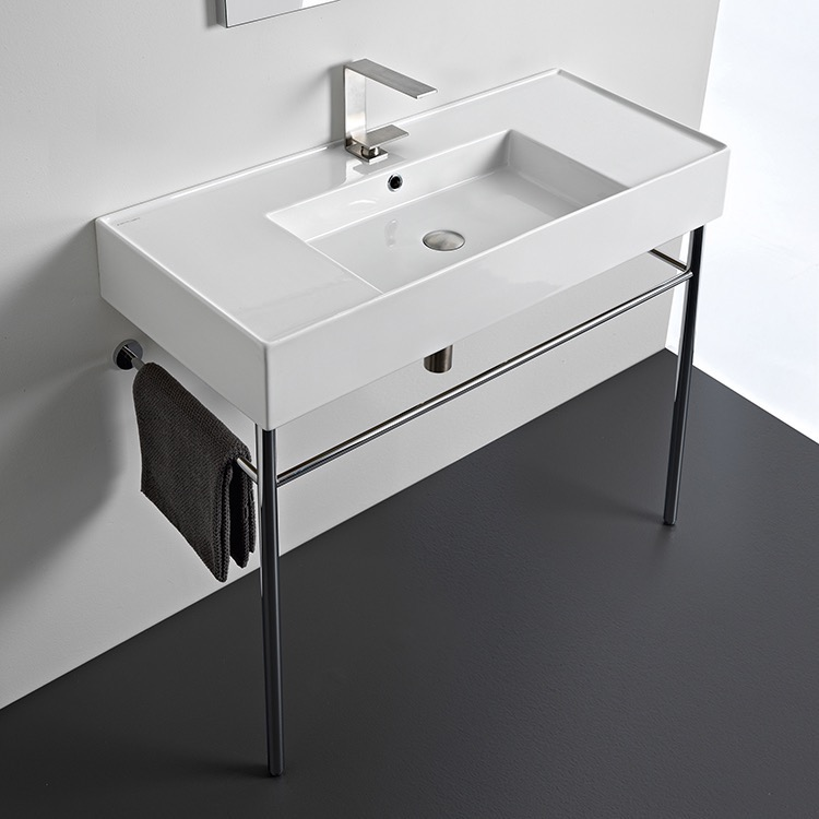 Bathroom Sink, Scarabeo 5124-CON, Rectangular Ceramic Console Sink and Polished Chrome Stand