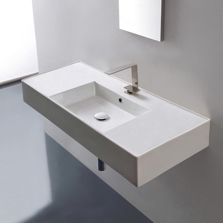 Bathroom Sink, Scarabeo 5124, Rectangular Ceramic Wall Mounted or Vessel Sink With Counter Space