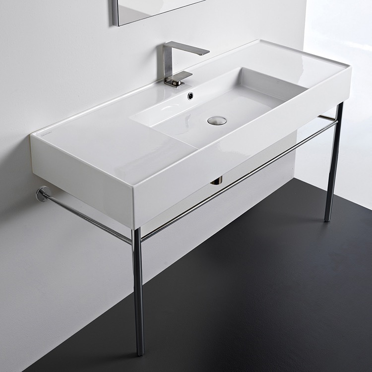 Bathroom Sink, Scarabeo 5125-CON, Rectangular Ceramic Console Sink and Polished Chrome Stand