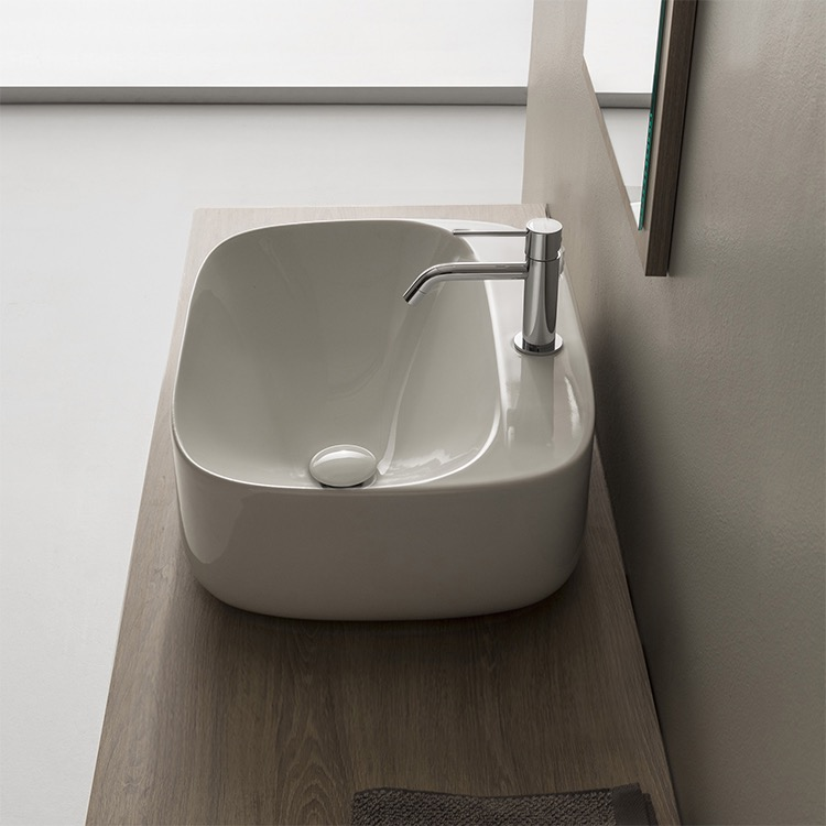 Bathroom Sink, Scarabeo 5504, Oval White Ceramic Vessel Bathroom Sink