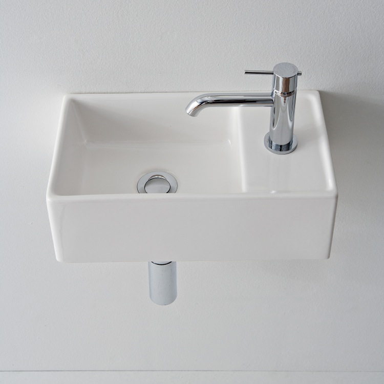 Bathroom Sink, Scarabeo 8031/R 41, Square White Ceramic Wall Mounted Or