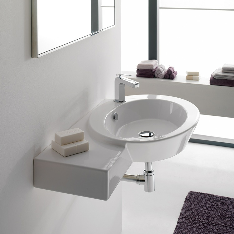 Bathroom Sink, Scarabeo 2012, White Ceramic Wall Mounted Sink With Left Counter Space