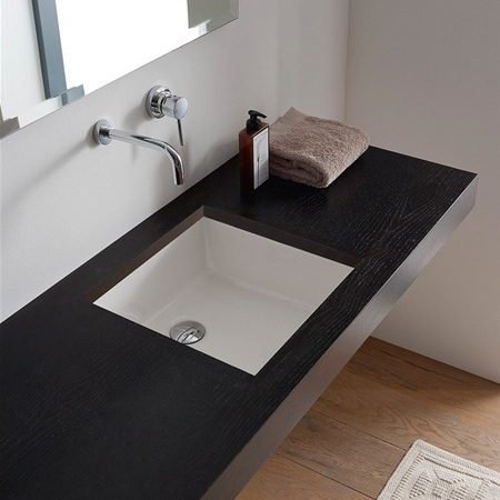 Bathroom Sink, Scarabeo 8089, Square White Ceramic Undermount Sink