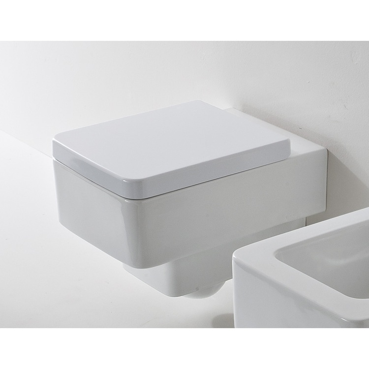 Toilet, Scarabeo 8701, White Ceramic Square Wall Mounted Toilet