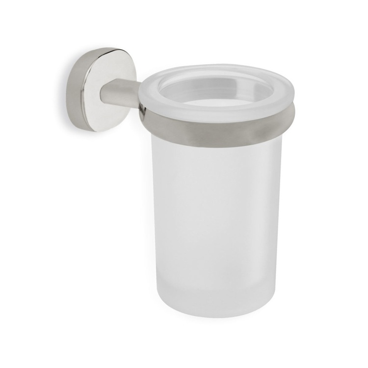 Toothbrush Holder, StilHaus DI10-36, Satin Nickel Frosted Glass Toothbrush Holder with Brass Mounting