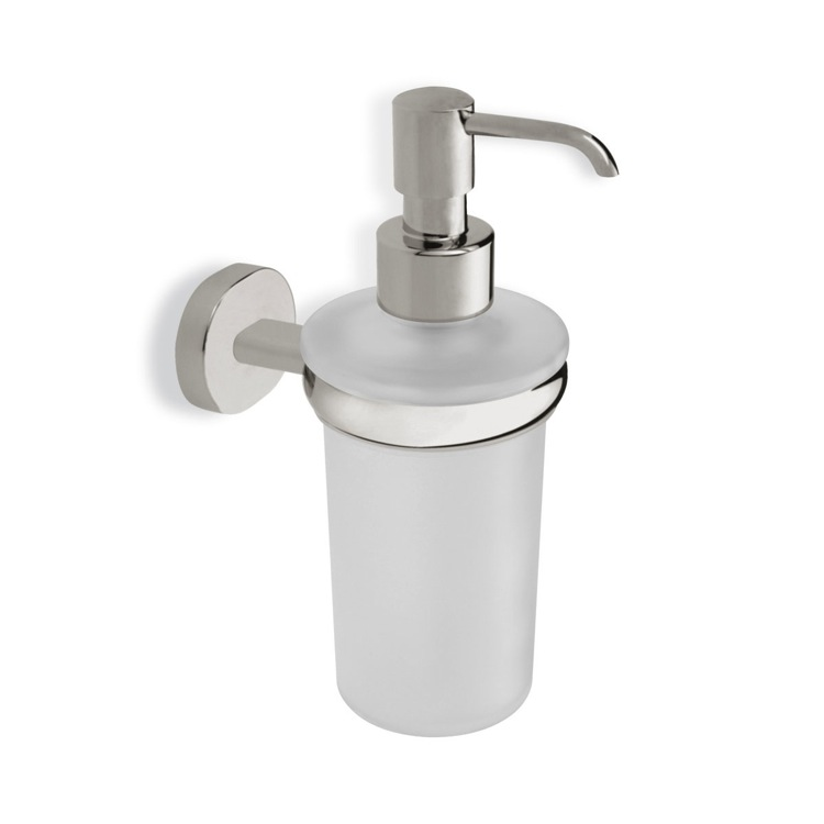 Soap Dispenser, StilHaus DI30-36, Satin Nickel Frosted Glass Soap Dispenser with Brass Mounting