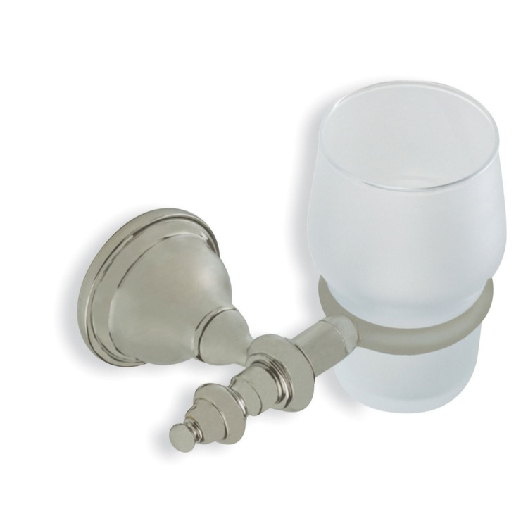 Toothbrush Holder, StilHaus EL10-36, Satin Nickel Classic Style Wall Mounted Frosted Glass Toothbrush Holder or Tumbler