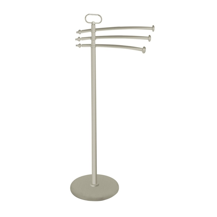 Towel Stand, StilHaus EL19-36, Satin Nickel Free Standing Classic-Style Brass Towel Stand