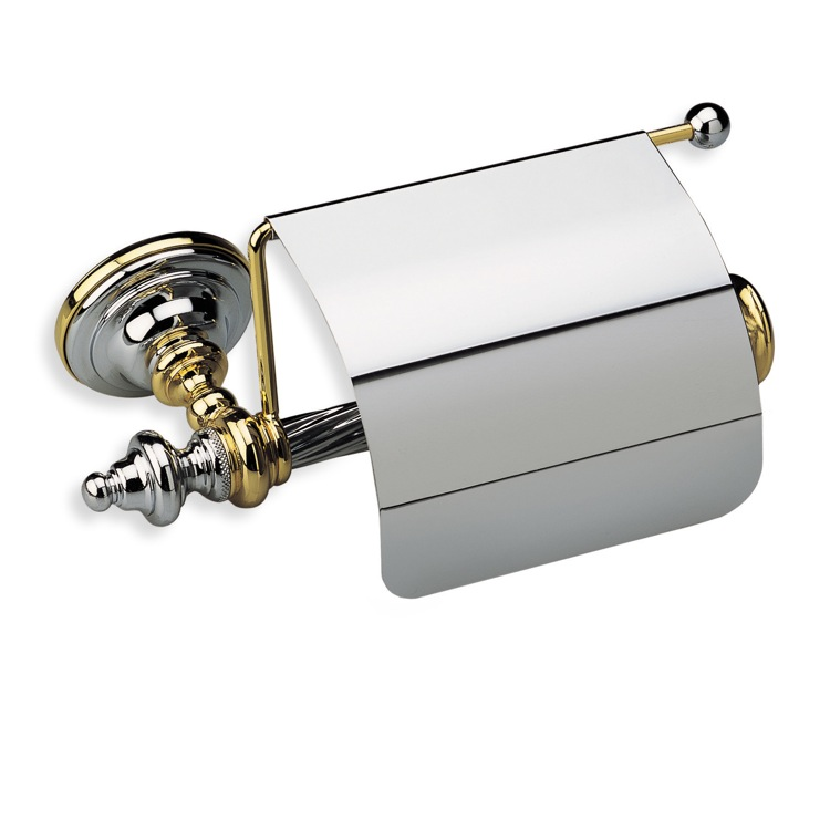 Toilet Paper Holder, StilHaus G11C, Classic-Style Brass Toilet Roll Holder with Cover