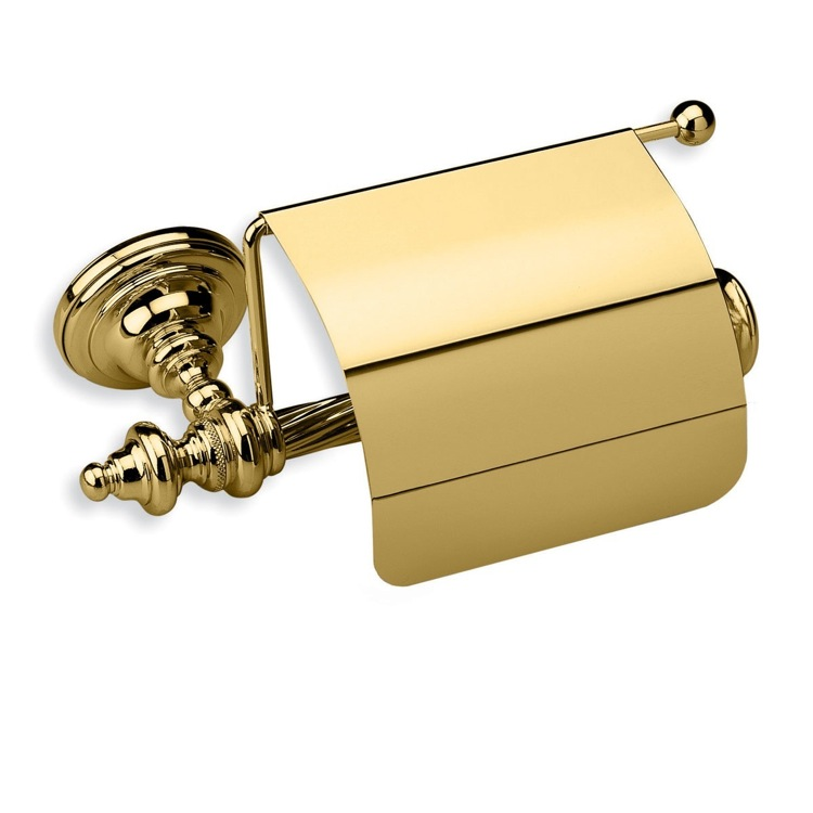 Toilet Paper Holder, StilHaus G11C-16, Gold Brass Toilet Roll Holder with Cover