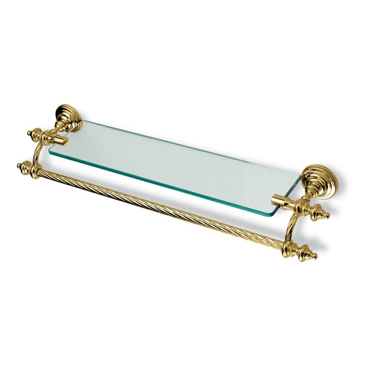 Bathroom Shelf, StilHaus G33-16, Gold Classic-Style Clear Glass Bathroom Shelf with Towel Bar