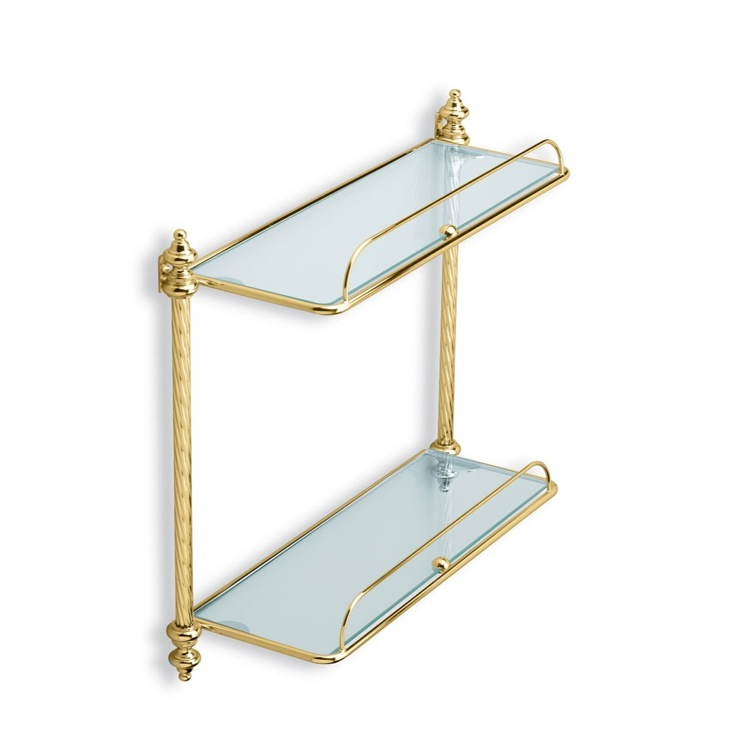 Bathroom Shelf, StilHaus G694-16, Gold Double Glass Bathroom Shelf