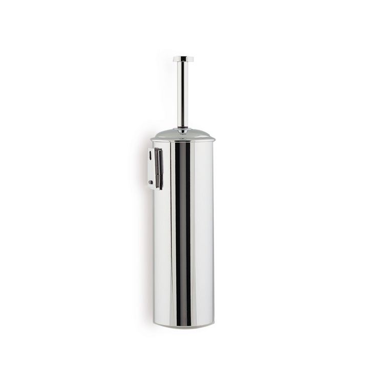 Toilet Brush, StilHaus ME039M-08, Chrome Wall Mounted Rounded Brass Toilet Brush Holder