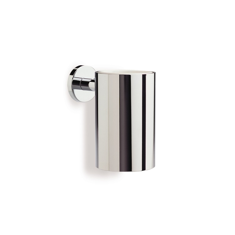Toothbrush Holder, StilHaus ME10M-08, Chrome Wall Mounted Round Brass and Ceramic Toothbrush Holder