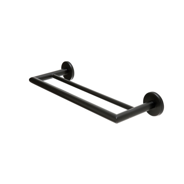 Towel Bar, StilHaus ME06.2-23, Round 13 Inch Black Double Towel