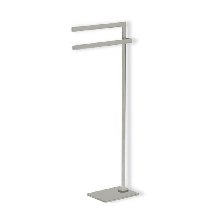 Towel Stand, StilHaus DI19-36, Satin Nickel Free Standing Towel Stand