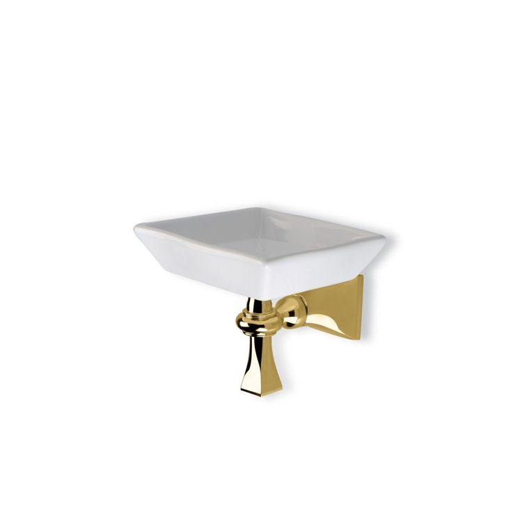 Soap Dish, StilHaus PR09-16, Gold Wall Mounted Classic-Style Ceramic Soap Dish