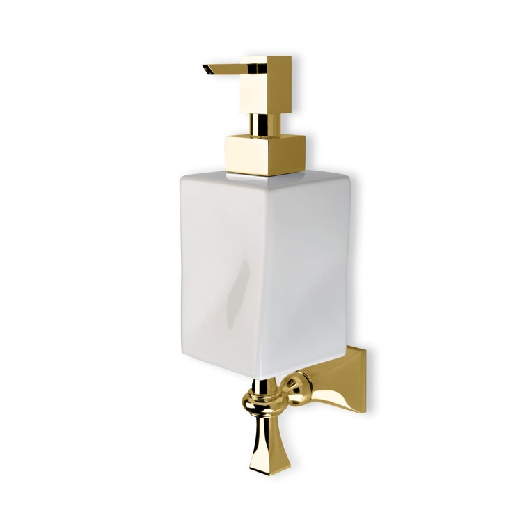 Soap Dispenser, StilHaus PR30-16, Classic Wall Mounted Gold and Ceramic Soap Dispenser