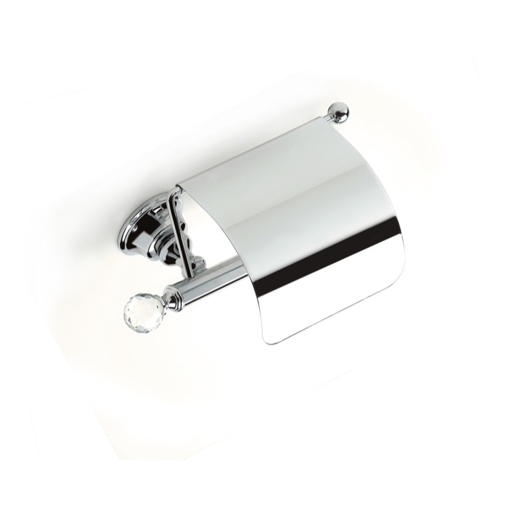 Toilet Paper Holder, StilHaus SL11C-08, Chrome Brass Covered Toilet Roll Holder with Crystal