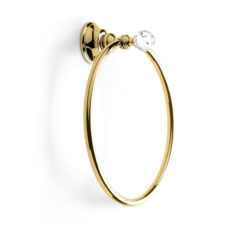 Towel Ring, StilHaus SL07-16, Gold Towel Ring with Crystal