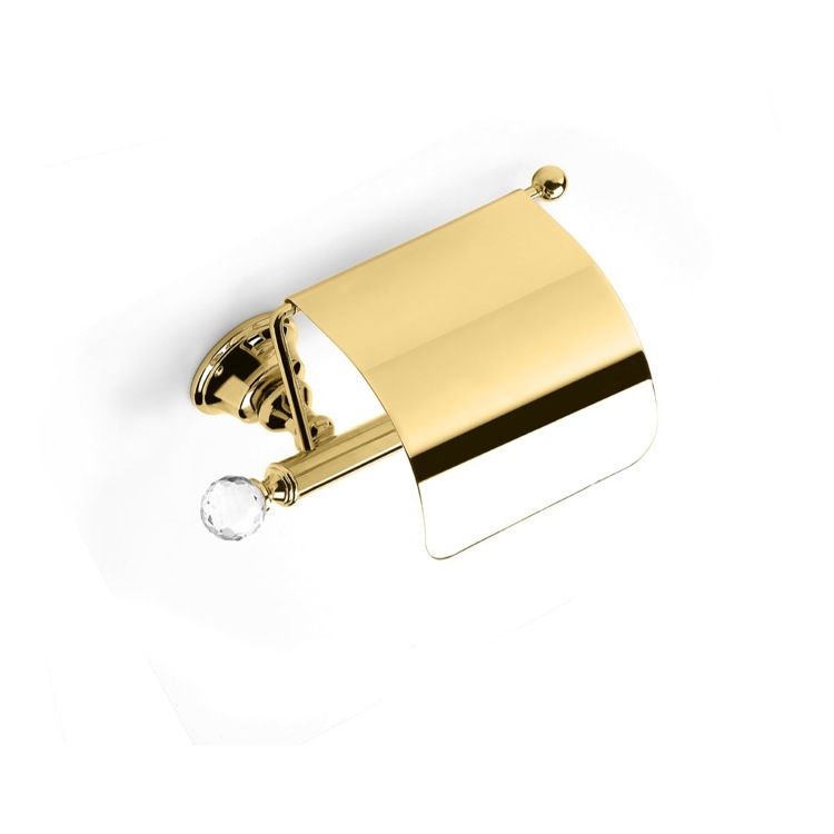 Toilet Paper Holder, StilHaus SL11C-16, Gold Finish Brass Covered Toilet Roll Holder with Crystal