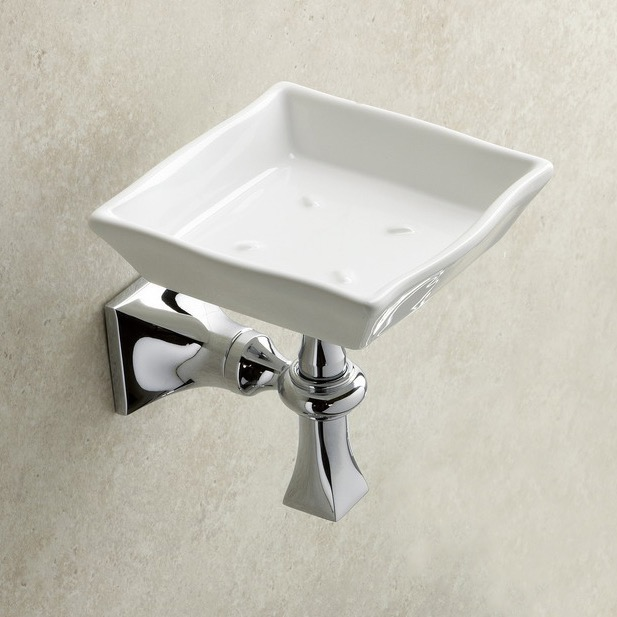 Soap Dish, StilHaus PR09-08, Wall Mounted Chrome Ceramic Soap Dish