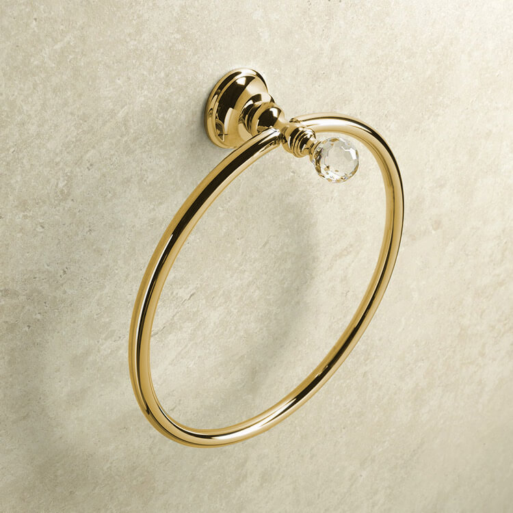Towel Ring, StilHaus SL07-16, Gold Finish Towel Ring with Crystal