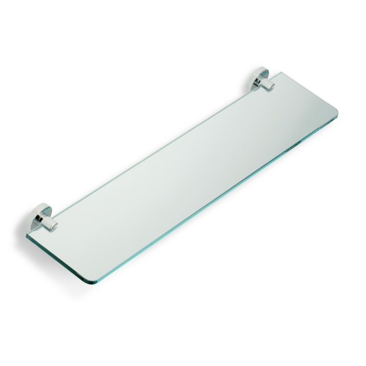 Bathroom Shelf, StilHaus VE04-08, Chrome Clear Glass Bathroom Shelf