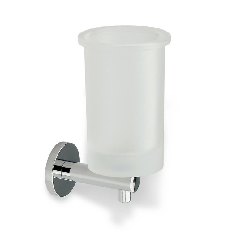 Toothbrush Holder, StilHaus VE10, Wall Mounted Round Frosted Glass Toothbrush Holder with Brass