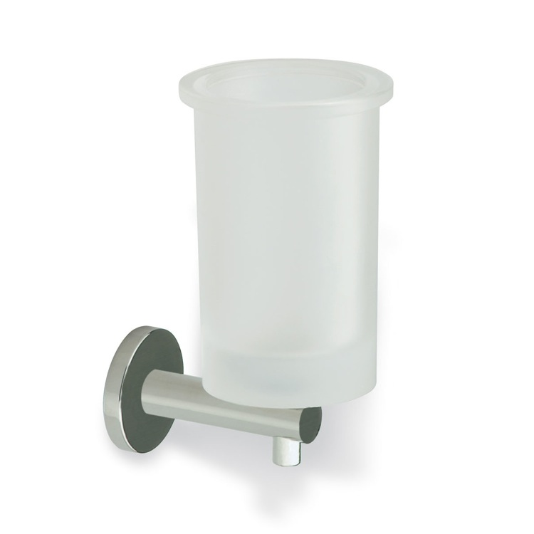 Toothbrush Holder, StilHaus VE10-36, Satin Nickel Wall Mounted Frosted Glass Toothbrush Holder with Brass