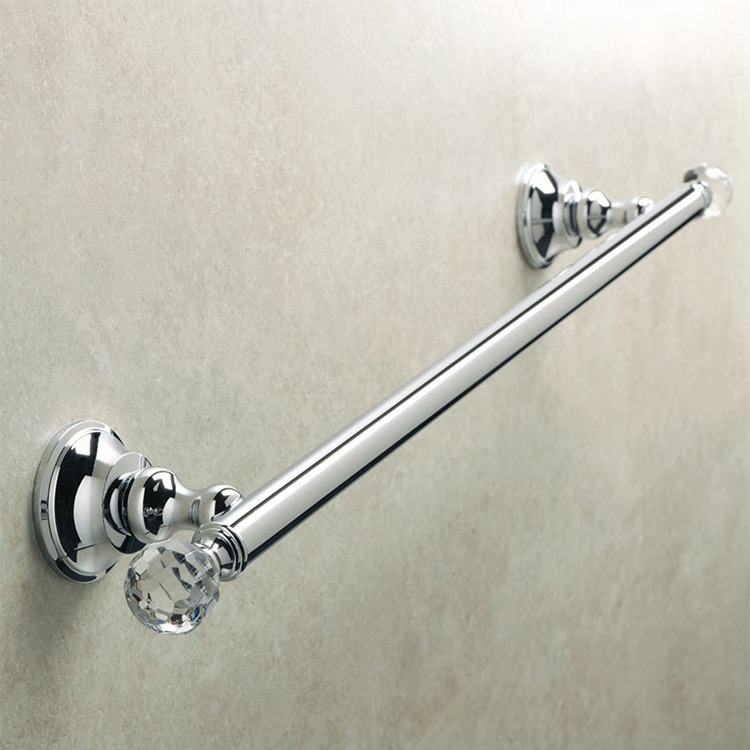 Towel Bar, StilHaus SL45-08, Chrome Brass 20 Inch Towel Bar with Crystals