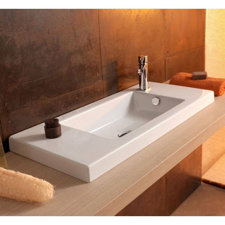 Bathroom Sink, Tecla 3501011, Rectangular White Ceramic Wall Mounted or Drop In Sink