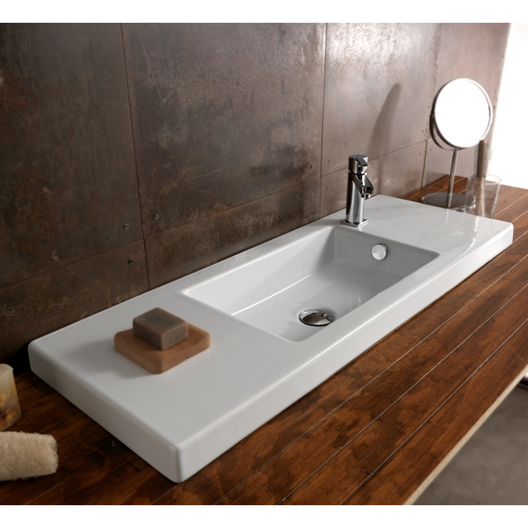 Genial Bathroom Sink, Tecla 3502011, Rectangular White Ceramic Wall Mounted Or  Drop In Sink