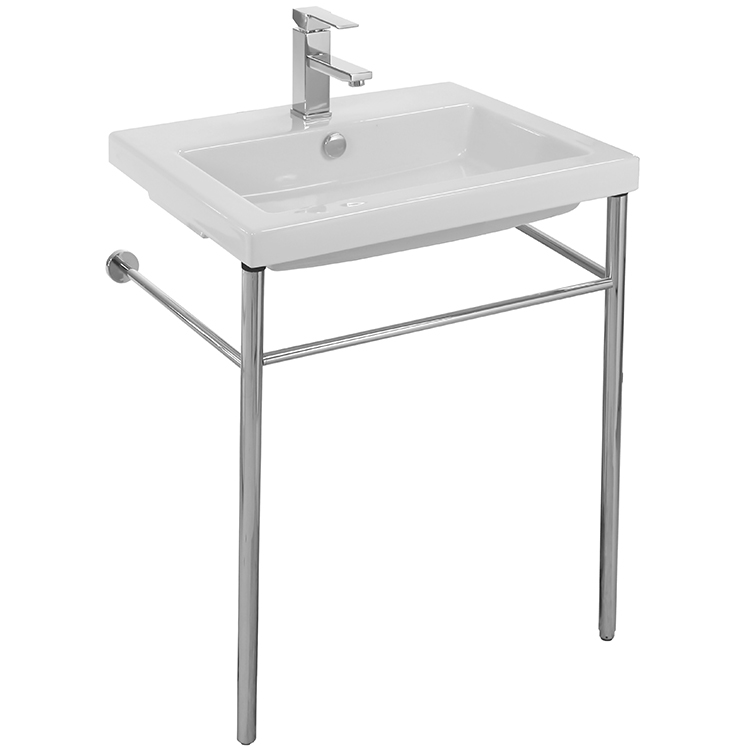 Bathroom Sink, Tecla CAN01011-CON, Rectangular Ceramic Console Sink and Polished Chrome Stand