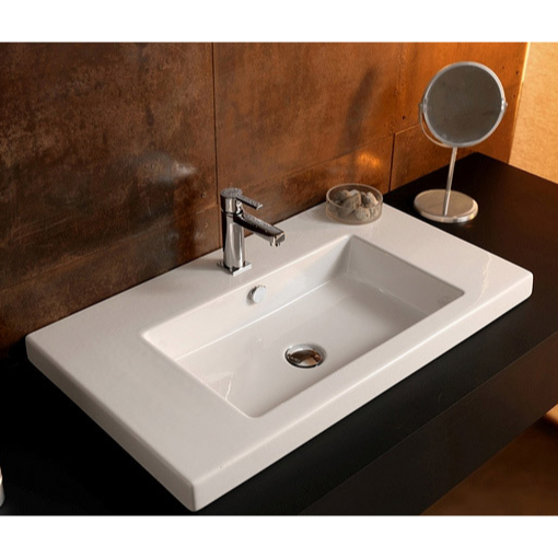 Bathroom Sink, Tecla CAN02011, Rectangular White Ceramic Wall Mounted or Drop In Sink