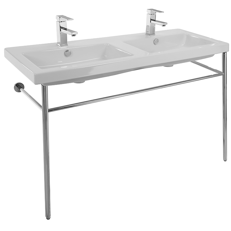 Bathroom Sink, Tecla CAN04011-CON, Double Basin Ceramic Console Sink and Polished Chrome Stand