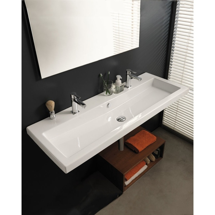 Bathroom Sink Tecla Can05011b Trough Ceramic Wall Mounted Or Drop In