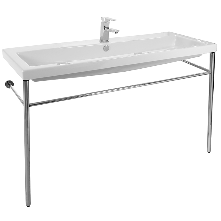 Bathroom Sink, Tecla CAN05011A-CON, Large Rectangular Ceramic Console Sink and Polished Chrome Stand