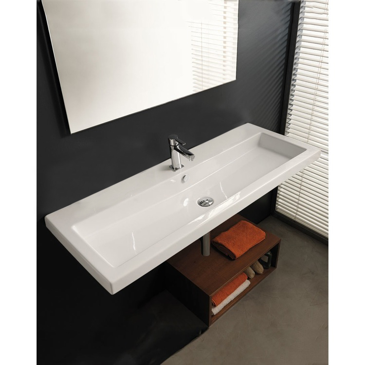 Bathroom Sink, Tecla CAN05011A, Rectangular White Ceramic Wall Mounted or Drop In Sink