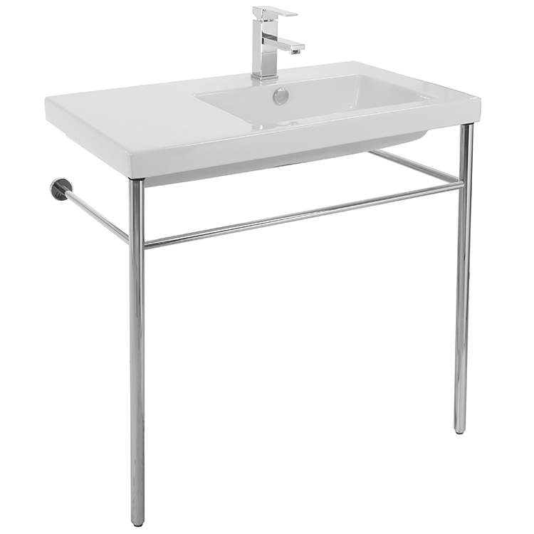 Bathroom Sink, Tecla CO01011-CON, Rectangular Ceramic Console Sink and Polished Chrome Stand