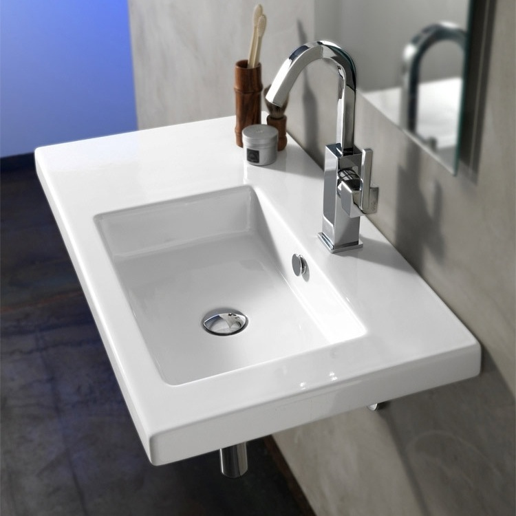 Bathroom Sink, Tecla CO01011, Rectangular White Ceramic Wall Mounted Or  Drop In Sink